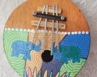 Vintage African Kalimba Thumb Piano ~ Handmade OOAK Coconut Kalimba ~ Hand painted in Africa