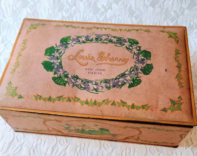 RARE Canco Louis Sherry New York Tin ~ Purple ~ Biscuit Candy Tin ~ Lavender ~ Unique Trinket Box ~ Hinged Metal Container