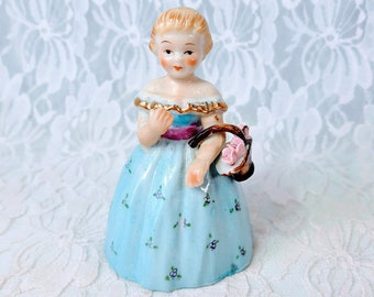 Vintage Lefton China Hand Painted Blue Bisque Girl Carrying Flowers BELL ~ 1950s ~ Collectible Eggshell Porcelain Bell ~ Sold As-Is