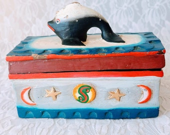 """Unique Spell Box ~ Wood Trinket Box ~ Intricate Carved Lid ~ Fish Lid ~ One of a Kind ~ 6X3X3"""""""
