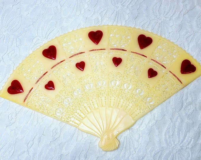 Vintage Filigree Valentine's Day Fan Shaped Doll Sized Accessory ~ Floral Pick? ~ Valentine's Day Theme ~ TeleFlora 1980s