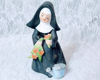 Vintage 1950's Victoria Ceramics Japan Porcelain NUN Figurine ~ Highly Detailed ~ Hand-Painted ~ Gardening Nun with Flowers & Watering Pot