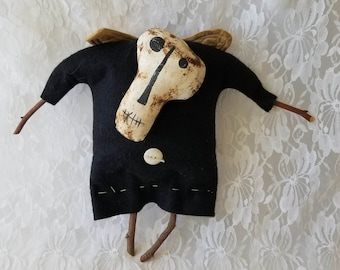 """Hand Painted Primitive Cloth Skeleton Doll ~ Halloween Decor 12"""" ~ Collectible Ornie Rustic Fall Decor ~ Signed by Artist """"GGP"""""""