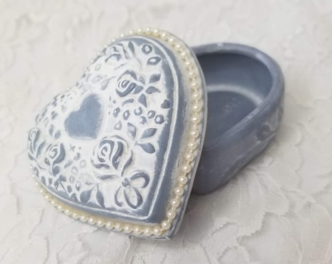 Unique Trinket Box ~ Heart Shaped Box ~ Intricate Embossed Lid ~ French Blue Porcelain ~ Heart Shaped Lidded Box ~ Ring Box