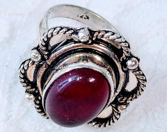 Red Spinel 925 Silver Ring ~ Size 6.75 Ring ~ Crystal Magick Energies ~ Self Esteem ~ Financial Success ~ Emotional Intelligence
