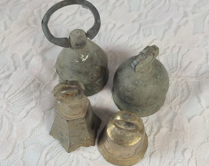 Lot of 4 Antique Brass Bells ~ Witches Bell ~ Wiccan ~ Pagan ~ Chime Bell ~ Altar Supplies ~ Magick ~ Very OLD ~ made in India