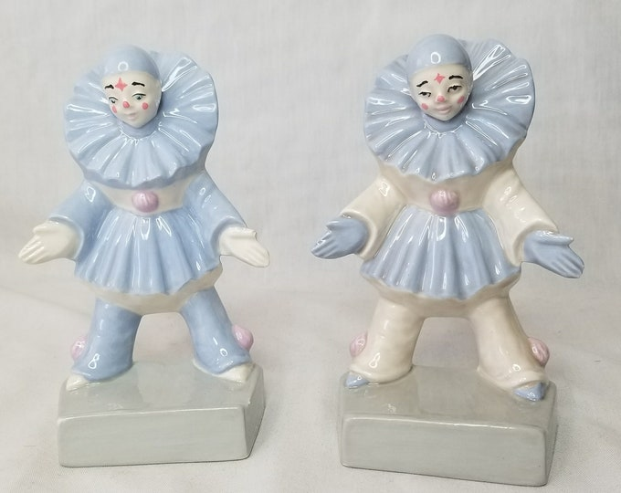 Set of 2 Vintage Ceramic Clowns ~ Art Deco ~ Pierrot French Mime Figurines 6""