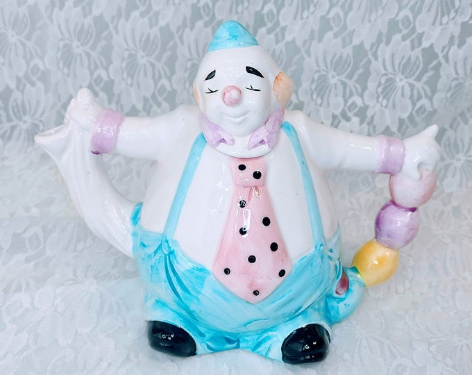 Vintage Pastel Clown Porcelain Teapot ~ Collectible Teapot ~ Otagiri Japan ~ Mary Ann Baker Designs