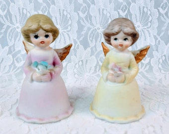 Set of Two (2) Vintage LEGO Japan Hand Painted Bisque Angel Bells ~ 1950s ~ Collectible Eggshell Porcelain Bells