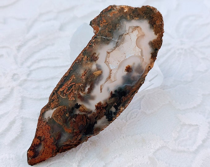 "Moss Agate Crystal Slab ~ Perfect for Cabbing or Lapidary Work 3"" by 1"" ~ Jewelry Making ~ Healing Crystal ~ Reiki Energy"