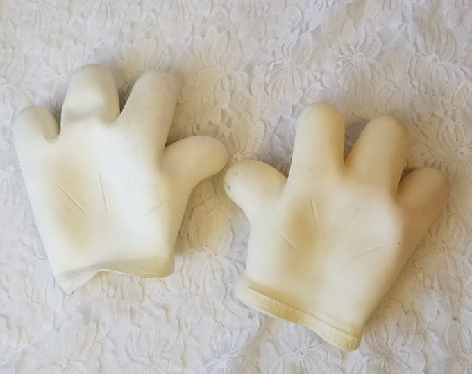 Mickey Mouse White Costume Rubber Gloves Rubies 1990s Cartoon Halloween ~ Set of Gloves ~ Disney ~ Adult or Child Sized