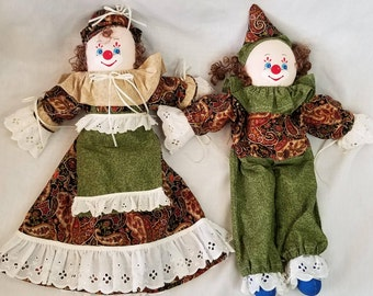 Set of 2 Primitive Country Man and Woman Clown Dolls ~ Cloth Dolls ~ Fabric Dolls ~ Rag Dolls ~ Stuffed Dolls ~ Textile Dolls