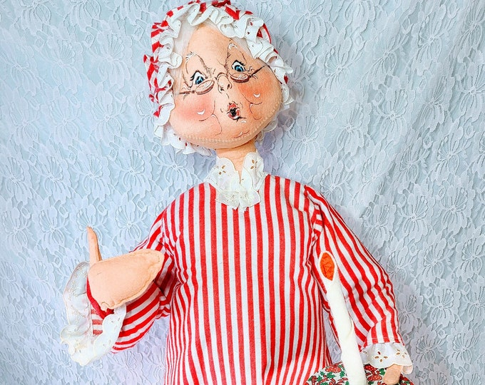 """Vintage HUGE! Kitschy Annalee Christmas 28"""" Mrs. Claus Holding Candle ~ Holiday Décor ~ Retro  Christmas ~ Holiday Decoration"""