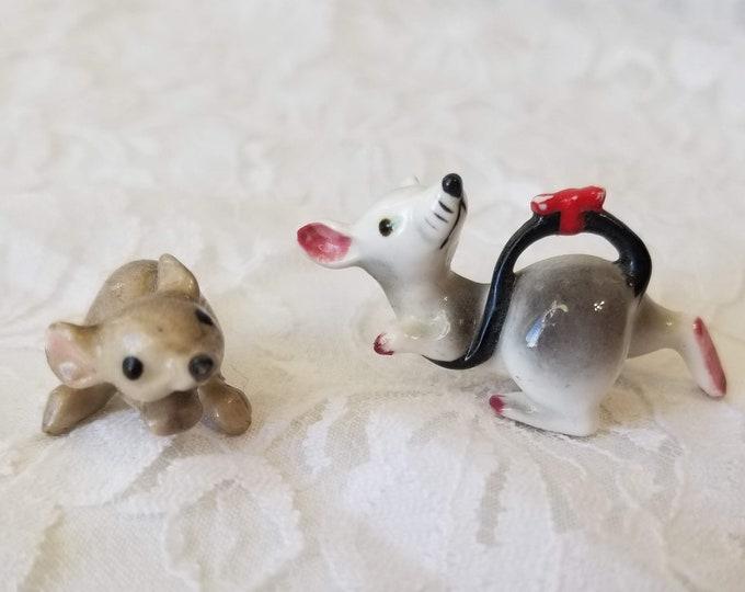 "Set of 2 Tiny .5"" Mice Mouse Rat Micro Miniature Porcelain Figurines Statue ~ Dollhouse Decor ~ Fairy Garden ~ Terrarium Filler"