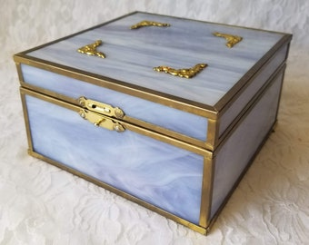 Unique Cornflower Blue OOAK Stained Glass Soldered Box ~ Photo Frame Box ~ Witches Box ~ Altar Box ~ Dream Box ~ As-Is