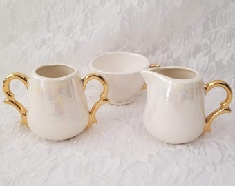 Iridescent Lusterware 1940s Sugar And Creamer Set ~ Unmarked Art Pottery ~ Fantastic Rainbow Sheen ~ Sugar Bowl, Creamer Jug and Tea Cup