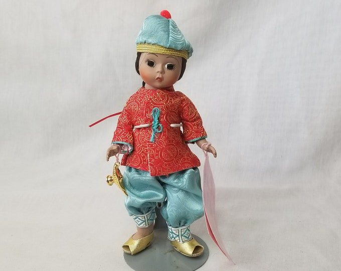 """Vintage Madame Alexander 8"""" Aladdin with Hand Tag ~ No Box ~ Jointed Knees ~ RARE HTF Tagged Outfit with Shoes and Genie Lamp"""