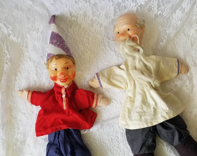 Father and Son ~ Vintage German 1950s Vinyl Plastic Cloth Hand Puppets ~ Mid Century Toys ~ Kitsch Collector Hand Puppets