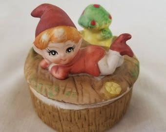 Trinket Box Vintage HOMCO Mid Century Bisque Porcelain Elf Pixie with Green Magic Mushroom Lidded Trinket Box