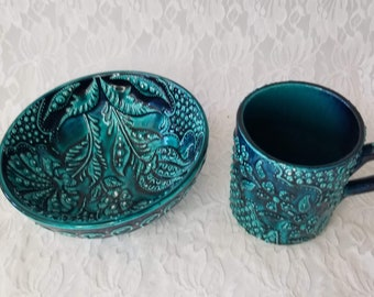 Unique OOAK Ceramic Coffee Mug and Matching Bowl ~ Lead Free ~ Amazing Work ~ Teal Kitchen Decor ~ Art Pottery
