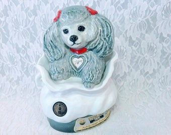 """TIFFINY Poodle Dog In Purse Decanter ~ Rare Vintage 1973 Collectible Jim Beam Bottle & Specialties Club Decanter ~ 8.25"""" Tall"""