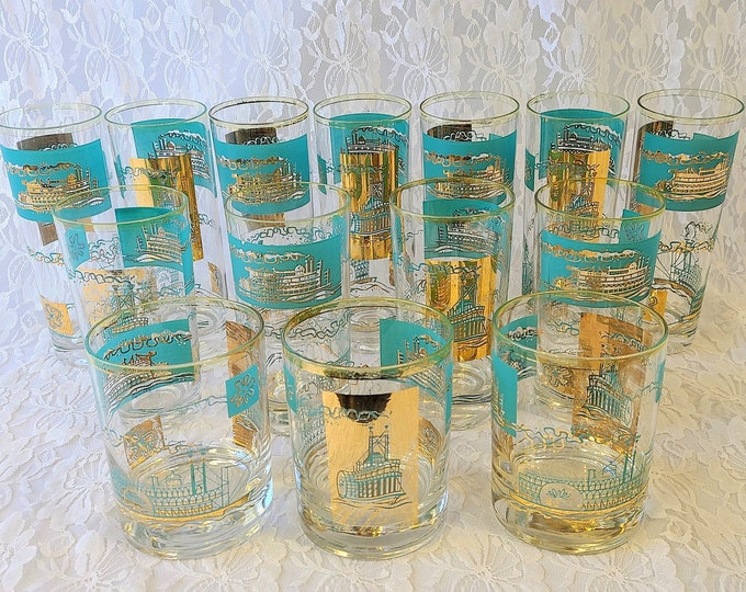 Mid Century Modern Steamboat Highball Glasses - Gold & Teal ~ Mad Men Style - Drinking Glasses - Vintage Barware
