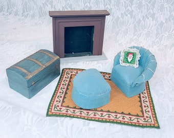 Miniature Wooden Living Room Six Piece Set for Dollhouse ~ 1:12 Scale ~ Vintage Dollhouse Furniture ~ Signed and HANDMADE 1970s