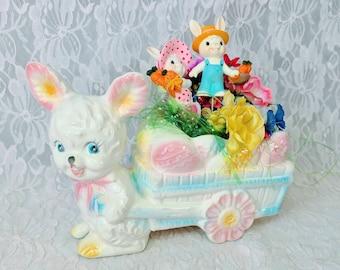 Vintage Kitschy Easter! Ruben's 1950s Easter Arrangement Floral Planter ~ Easter Picks ~ One of a Kind Easter Decoration ~ Pinterest Craft!