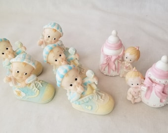 """CLEARANCE Vintage 1950s Celluloid Cake Toppers ~ Baby Boy and Baby Girl Figures 3"""" ~ Sold Seperately ~ New Old Stock from 1951 ~ RARE"""