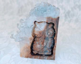 "No Reserves! Hand Carved Owl Quartz ~ Amplified Wisdom Energy Generator ~ Chunky Size 2.75""x2.5"" ~ Spellcast ~ Athene noctua"