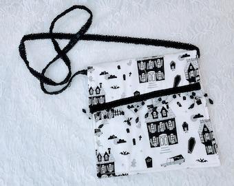 White Haunted House Halloween Handmade Crossbody Phone Storage Purse ~ Handbag ~ Storage Bag ~ Camera Bag ~ Embellished with Crystal Beads