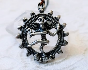Stainless Steel Dancing Shiva Pendant ~ Nataraja Hindu Silver Buddha ~ Necklace on Black Rope Thread ~ Meditation Jewelry