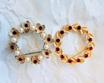 Set of 2 Red and Gold Tone Circle Brooches 1950s Red Crystal Rhinestone and Seed Pearl Pins Brooches Brooch