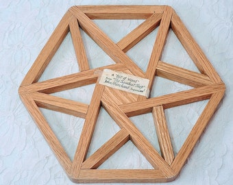 """Wooden Trivet from """"The Sawdust Shop"""" Sequim, Washington ~ Hot Pot Table Trivet or Large Coaster ~ Hand Made Wood 6 Sided Hexagon"""