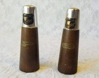 "Mid Century Danish Teak and Brass ""Oregon"" Novelty Salt & Pepper Shakers ~ Made in Japan ~ Travel Size"