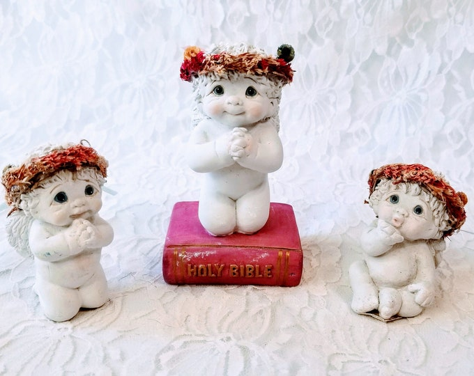Vintage Set of Three (3) Dreamsicles Angels by Kristin Haynes ~Baby Angel Figurines ~ Cast Art Industries ~ Signed by Artist