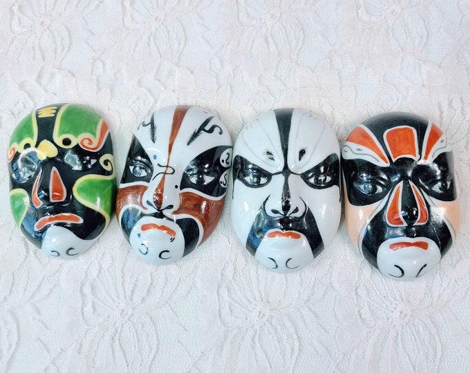 "Peking OPERA FACE MASKS  ~ Set Of 4 ~ Vintage Wall Hanging Hand Painted Chinese Evil Spirit Porcelain Masks ~ Signed / Numbered 3"" x 2"""