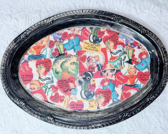 HANDMADE! Valentine's Day Collage Art Metal Tray ~ Assemblage Art ~ Vintage Valentine's Day Stuff