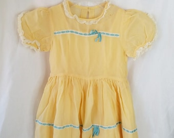 Antique Chiffon Handmade 1950 Dress for Toddler Child or Large Doll ~ Slip Included ~ Chiffon Overlay ~ Glass Button Size 3T-4T