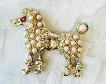 1950s Poodle Faux Seed Pearl Gold Tone Pin Brooch