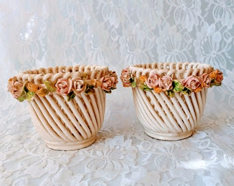 Set of Two (2) Italian Capodimonte Reticulated Lattice Porcelain Basket Bowls ~ Art Pottery ~ Open Weave ~ Gift for Mom