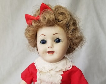 "OOAK Handmade Shirley Temple Doll by Francine Cee ~ 15"" Full Body Bisque ~ Red Handmade Dress ~ Curly Hair Dimples"