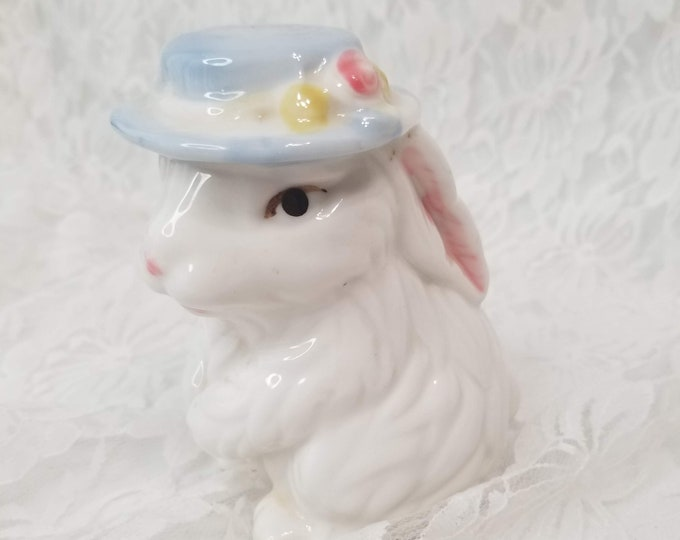 Vintage 1980s White Bunny with Flower Basket ~  Easter Bunny Figurine ~ Bunny Rabbit Figure Figurine Collectible