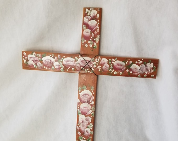 """Vintage Hand Painted Wooden Cross ~ Wall Hanging ~ LARGE 20"""" x 14"""" ~ Pink Roses on Wood"""