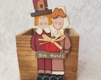 Wooden Box ~ Thanksgiving Decor ~ Vintage Hand Painted Man and Woman Pilgrim Colonial Couple ~ Planter, Centerpiece, Candy Dish