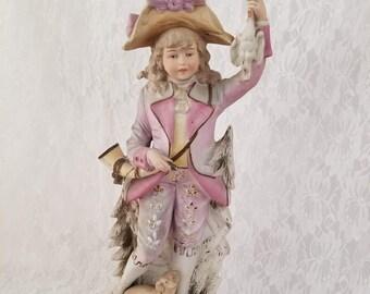e82bea55e33d2 Very LARGE Antique French Victorian Hunter w Dachshund Dog Bisque Statue  Figurine 15.25