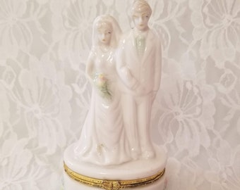 "Trinket Box ~ Marriage ~ White Porcelain Bisque Hinged 5.5"" Trinket Box ~ Wedding Day ~ Ring Box"