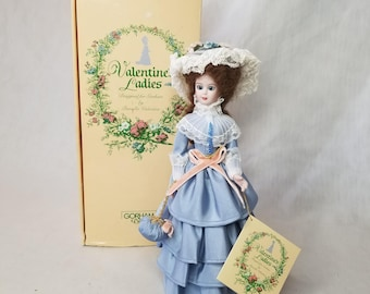 "Vintage 1987 Gorham Valentine Ladies Porcelain Doll ~ ""Patrice"" Victorian Collectible ~ 12"" Comes with Box and Hang Tag"