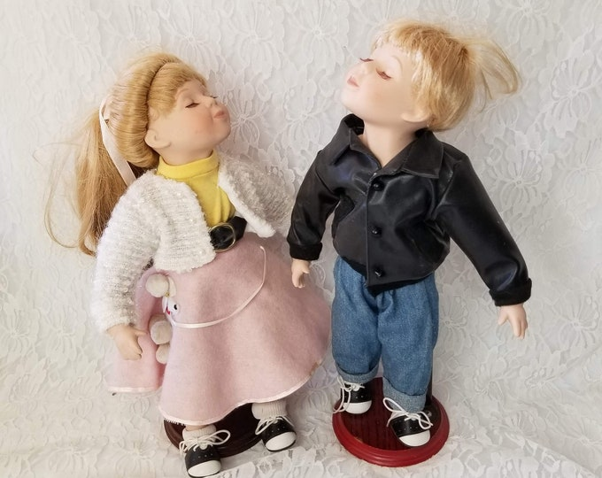"Rockabilly Kissing Dolls ~ 14"" Kissing Dolls ~ Porcelain Boy and Girl Dolls ~ 1950s Style Kissing Dolls ~ Set of 2"