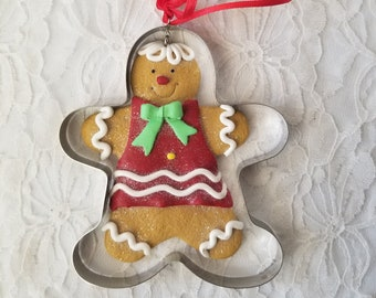 Handmade Primitive Christmas Gingerbread Cookie Cutter Ornament ~ Rustic Christmas ~ Holiday Decor ~ Christmas Ornament